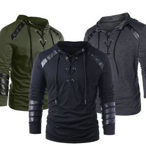 Men-039-S-Lace-Up-Faux-Leather-Hooded-Hoodie-Casual-Sweatshirt-Pullover-Sweater-Coat