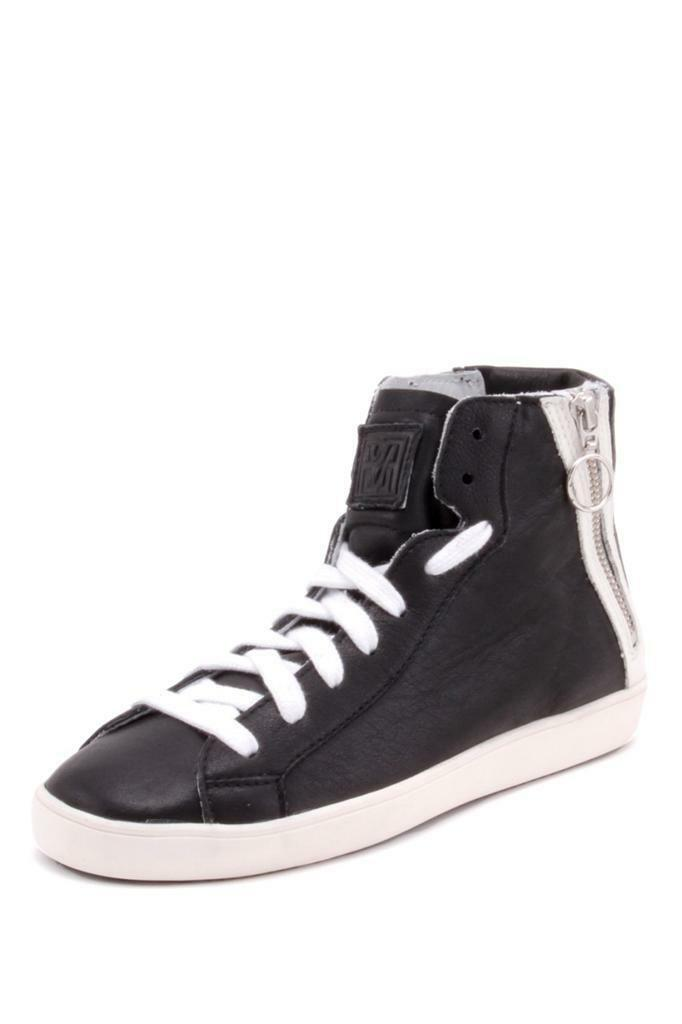 Pour La La La Victoire Narissa Tennis scarpe nero bianca Calf Athletic zipper Leather ab05e0