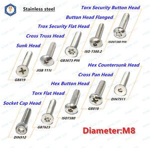 M8 Allen Hex Socket Cap Head,Button Head,Sunk Head Screws Bolt Washer Nut 304SS