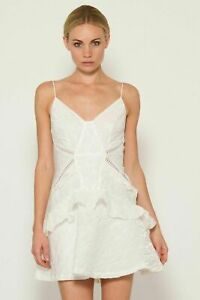 New-Self-Portrait-White-Jacquard-Mini-Dress-Sz-UK-4-8-10