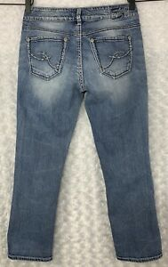 Silver-Jeans-Co-Women-039-s-Suki-Capri-Size-28-30-W-x-26-L-Blue-Denim-Thick-Stitch