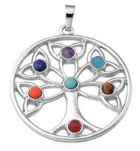 7 chakra stone pendant crystal reiki healing balancing tree of image is loading 7 chakra stone pendant crystal reiki healing balancing mozeypictures Image collections