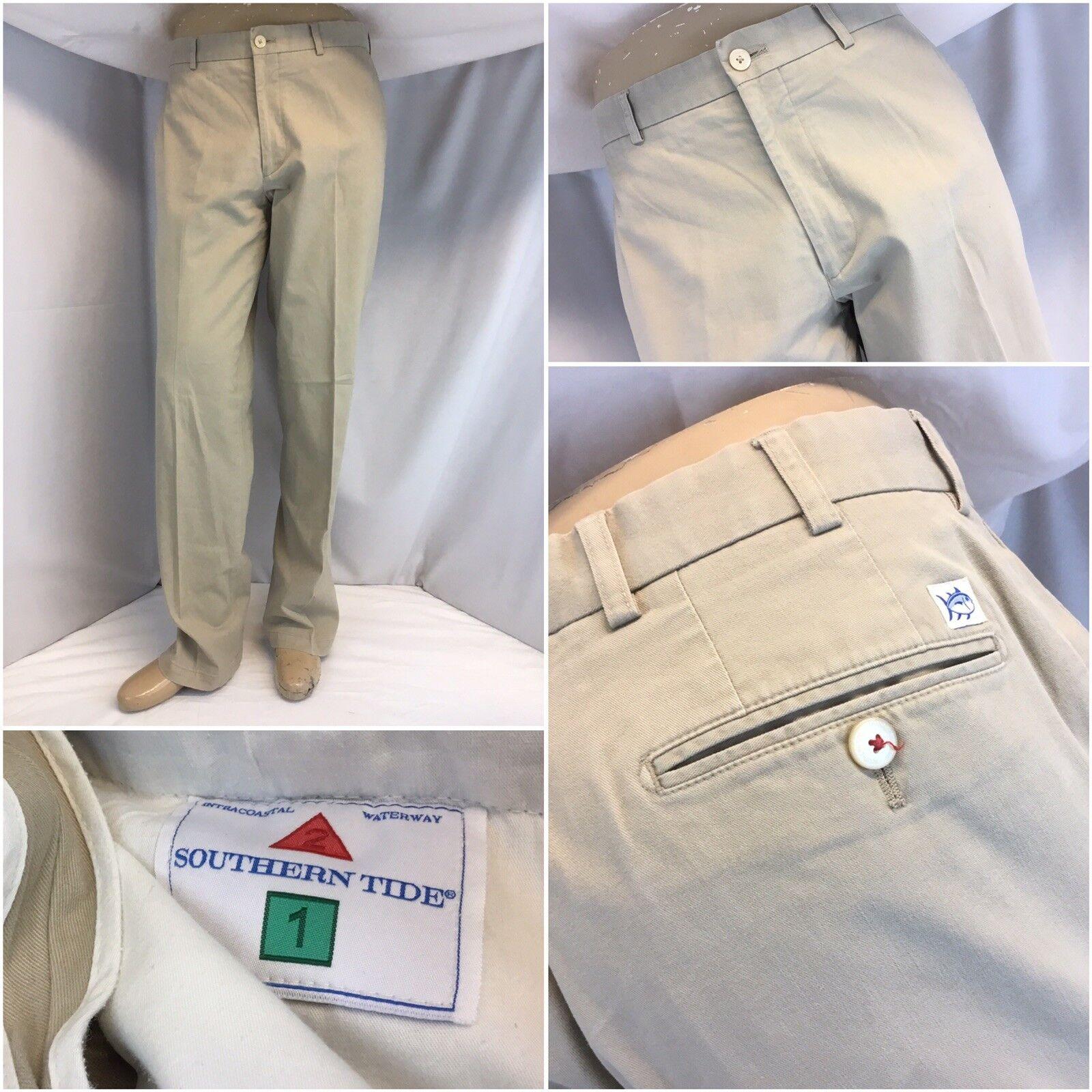 Southern Tide Pants 33x29 Tan Cotton Lycra Flat Front Worn Once YGI J8-299