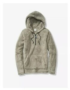 Victoria-039-s-Secret-PINK-Cozy-Half-Zip-Teddy-Sherpa-Hooded-Pullover-Sweater-Size-L