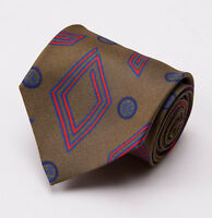$195 Luciano Barbera Olive Green-red-blue Deco Print Handmade Silk Tie