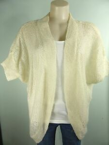 H-amp-M-light-cream-WOOL-AND-MOHAIR-open-weave-shrug-jumper-top-Cardigan-sz-6-8-10