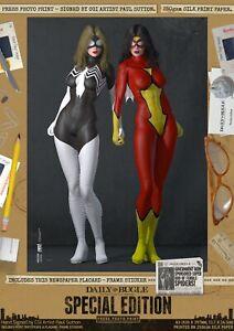 Julia-Carpenter-amp-Jessica-Drew-SEXY-Spider-Woman-Signed-A3-Comic-Print-Marvel-DC