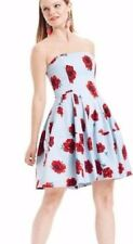 NWT BETSEY JOHNSON Sz6 STRAPLESS FIT AND FLARE DRESS FLORAL PRINT DRESS BLUE