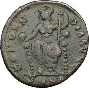 Gratian-367AD-Ancient-Roman-Coin-Cross-ROMA-w-globe-amp-spear-Rare-i31659