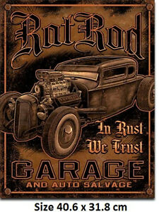 Rat-Rod-Garage-In-Rust-We-Trust-Tin-Sign-1895-Large-Variety-Post-Discounts
