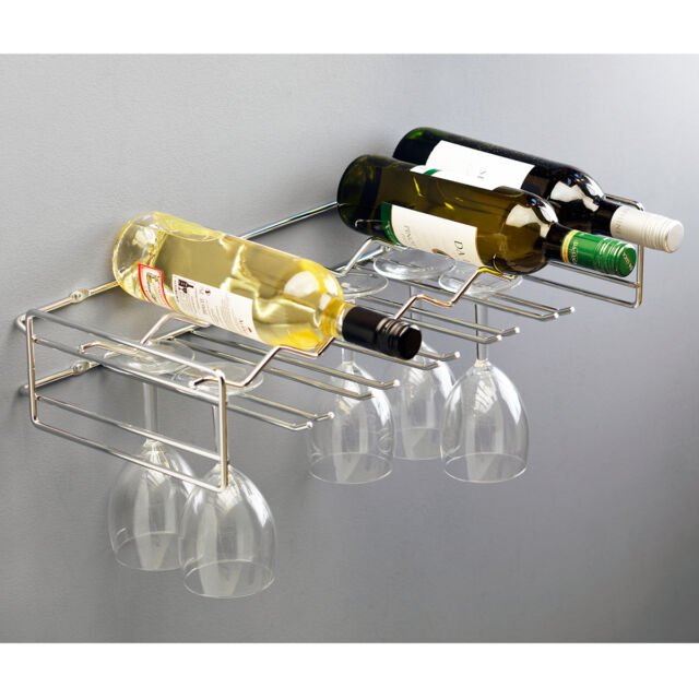 Rack Wall Mounted Wine Holder Storage Metal Shelf Holds 6 Bottles