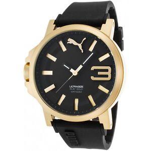 puma men 039 s ultrasize black silicone black dial gold watch image is loading puma men 039 s ultrasize black silicone black