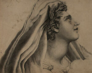 19th Century Charcoal Drawing - Andromache