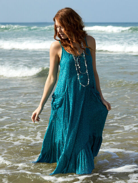 NOMADS Boho Teal Green Strappy Maxi Summer Long Cotton Dress Bohemian Fair Trade