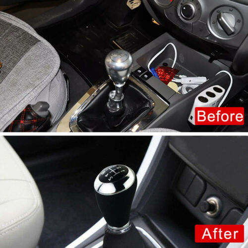 1Set Car Auto Leather Manual 5 Speed Gear Stick Shift Knob Lever Handle Shifter