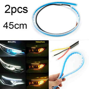 2x-45CM-LED-DRL-Daytime-Running-Lamp-Strip-Light-Sequential-Flowing-Turn-Signal