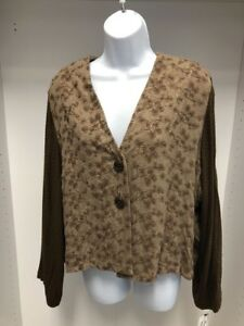DONNA-JESSICA-BROWN-EMBROIDERED-MIXED-FABRIC-CARDIGAN-JACKET-NEW-SIZE-3