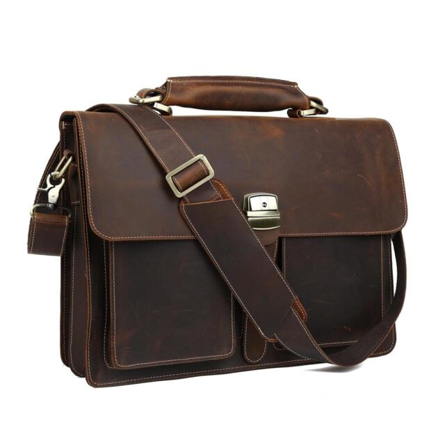 661f3bf5399 TIDING Mens Dark-brown Leather Briefcase 16