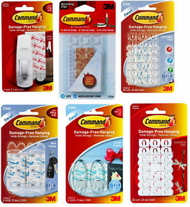 Details about Command Hooks Decorating Clips Self-Adhesive Strips Wall  Hanging Fairy Lights