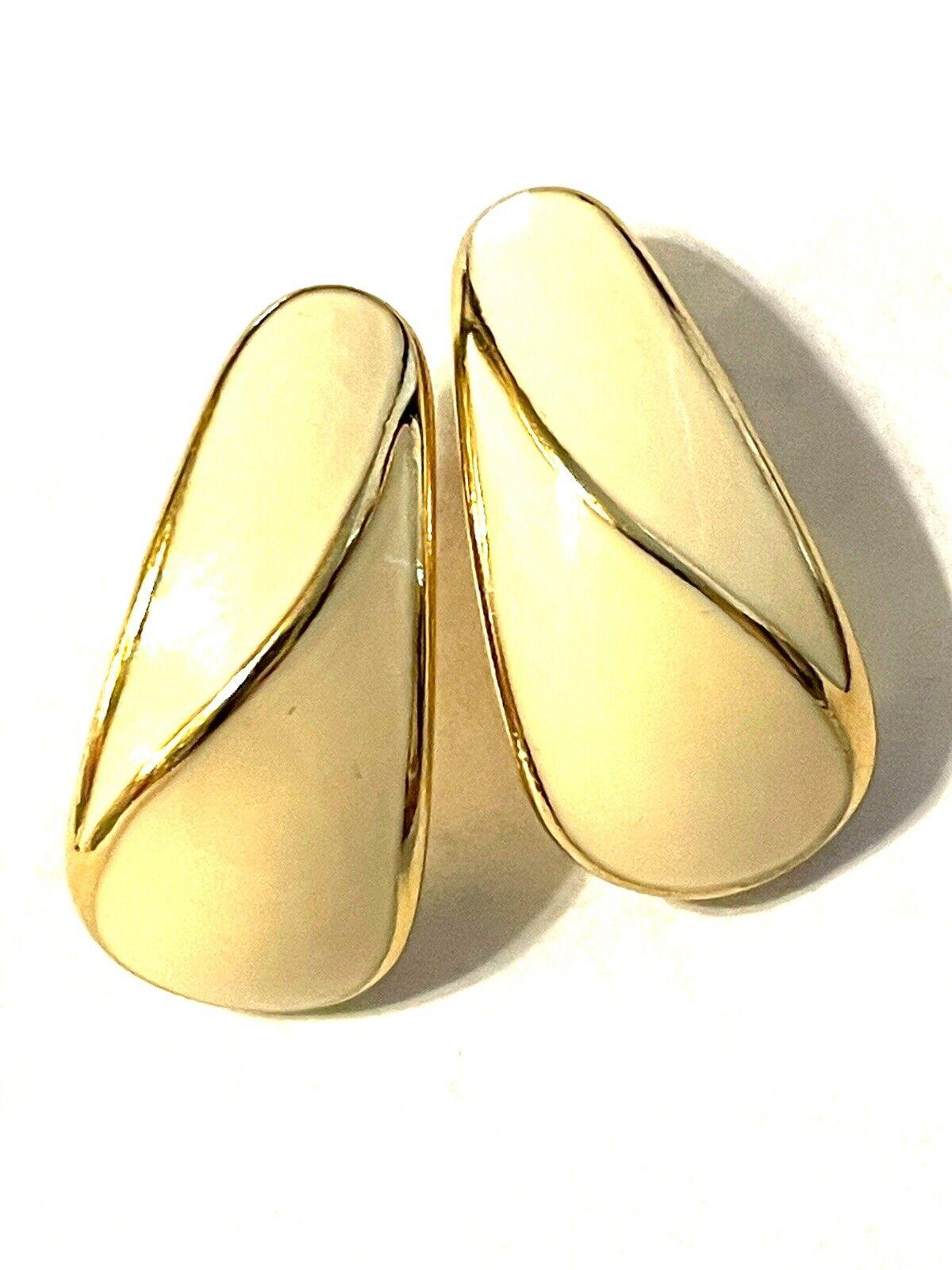 "Vintage Monet Gold Tone Cream Stud Earrings 1""  - image 1"