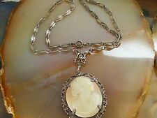 Victorian CAMEO Antique Shell Marcasite Sterling Silver Chain NECKLACE