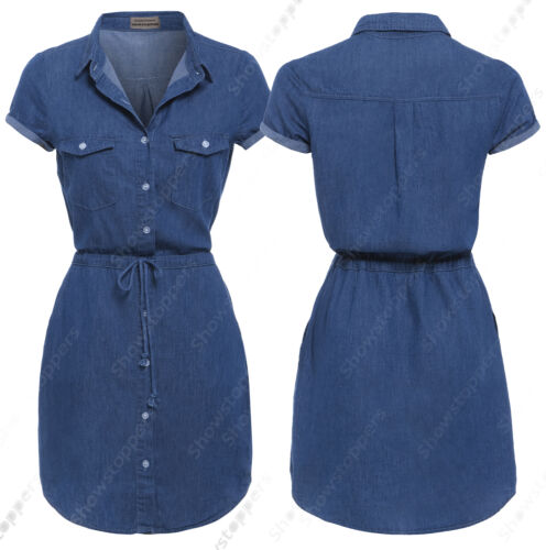 New Longline Womens 18 Donna Blue Jean Denim Dress 8 Taglia Shirt 14 10 12 rRrxqn5