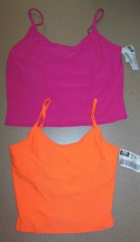 NWT DANCE CAMISOLE Crop SHELFBRA NEON  MATTE SPANDEX C//L Many COLORS shelflined