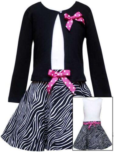 SIZES 4,5,6,/&6X BLACK//WHITE ZEBRA PRINT CARDIGAN SET RARE EDITIONS GIRL/'S DRESS
