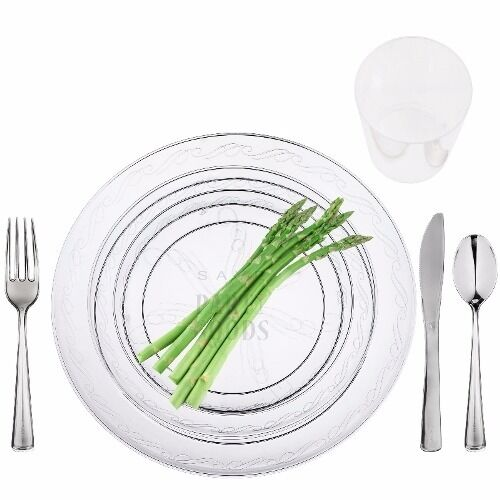 60 Full table Settings Plates, Cups, Cutlery WEDDING SPECIAL Disposable Plastic