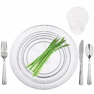 40 Full table Settings Plates, Cups, Cutlery WEDDING SPECIAL Disposable Plastic