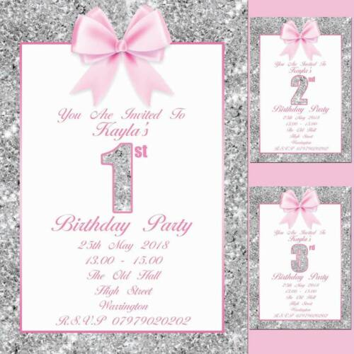 PERSONALISED BIRTHDAY PARTY INVITATIONS INVITES CHILDRENS GIRLS 1ST 2ND 3RD 4TH