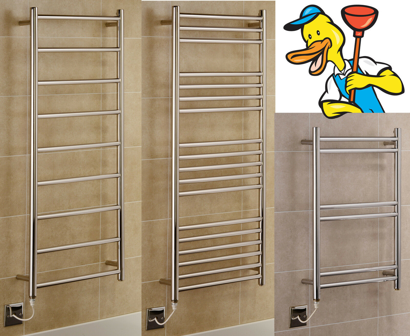 New Designer Stainless Steel Electric Towel Rails