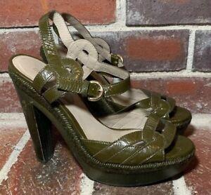 8b3d283d797 Sergio Rossi Olive Green Wood Block Heel Patent Sandals - Women s ...