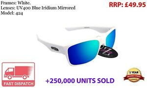 RayZor White Sports Wrap Sunglasses Uv400 Blue Mirrored Lens (424