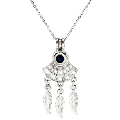 K1010 alliage d/'argent en éventail style bohémien perles cage Médaillon Pendentif Chaîne