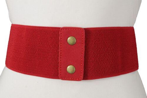 Women Western Wide Fashion Elastic Red Corset Belt Waistband Hip High Waist S M