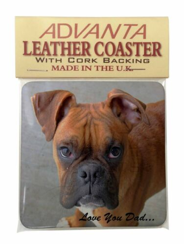DAD-4SC Boxer Dog /'Love You Dad/' Sentiment Single Leather Photo Coaster Animal