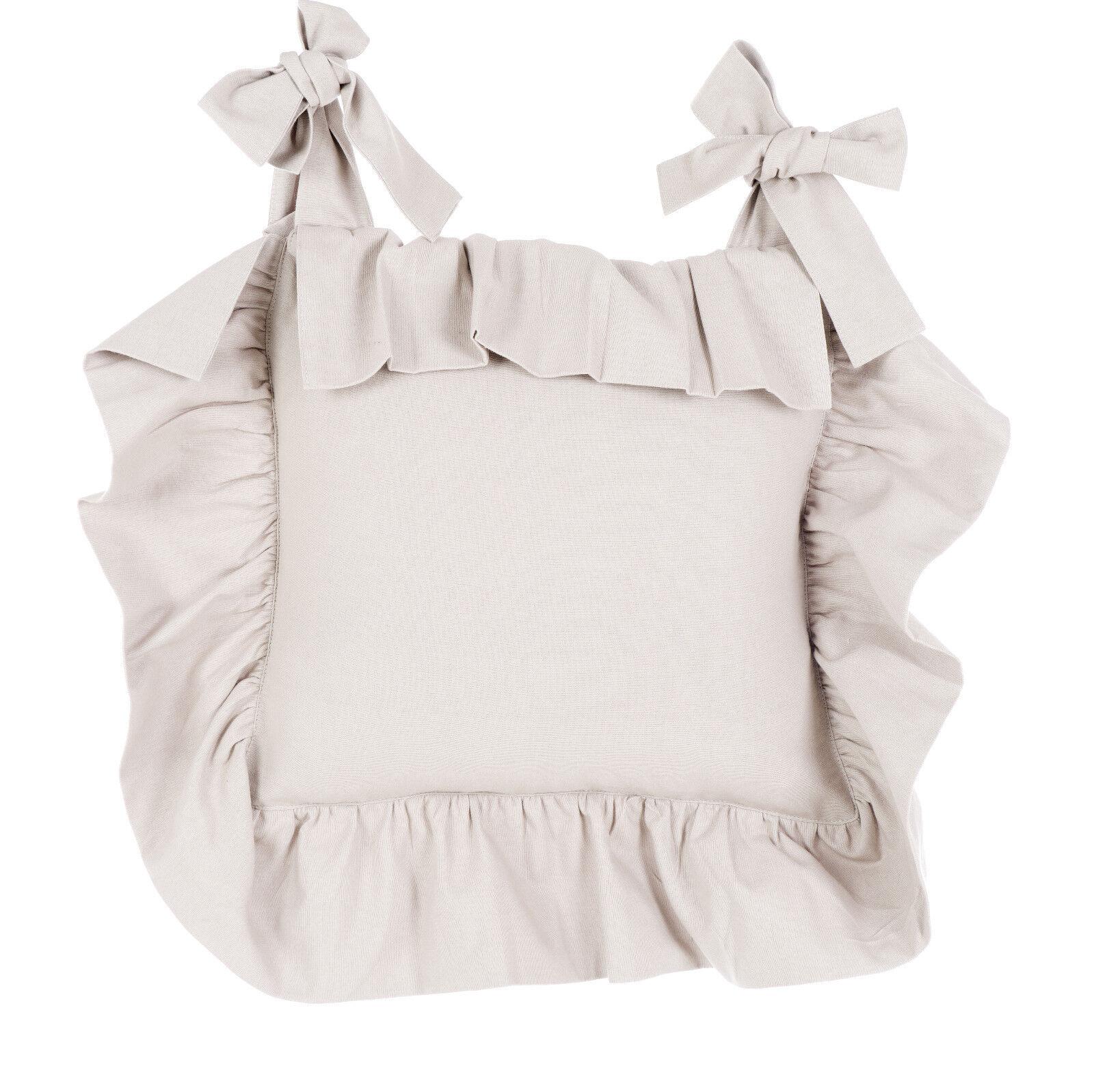 Details zu Blanc Mariclo Basic Sand Stuhlkissenbezug Shabby chic Landhaus  Vintage Volant