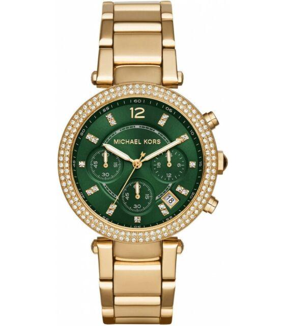 7dea9fbad634 Michael Kors MK 6263 Women s Parker Chronograph Glitz Gold Tone Green Dial  Watch