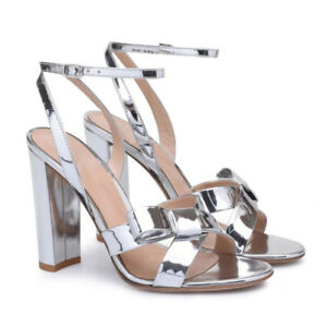 Fashion-Women-Silver-Patent-Leather-Open-Toe-High-Heels-Ankle-Strap-Buckle-Shoes