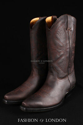 Grinders Mens Louisiana Black Real Leather Boot Cowboy Western Pointed Toe Boots