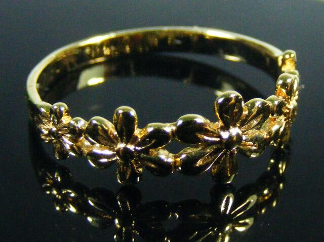 DAMEN RING 14k gold filled NEU ungetragen Größe 54 Blumen 585 gold plattiert