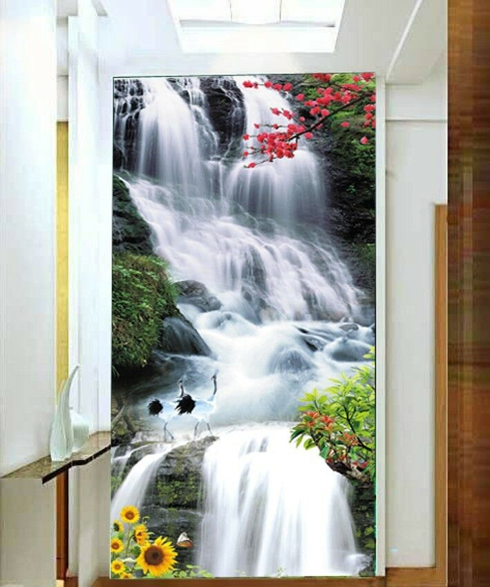 3D Mountain Waterfall Wall Paper Wall Print Decal Wall Deco Indoor wall Mural