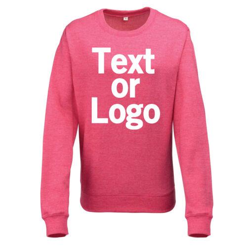 Ladies Womens Sweatshirt Pink and Heather Grey Personalised Text Logo