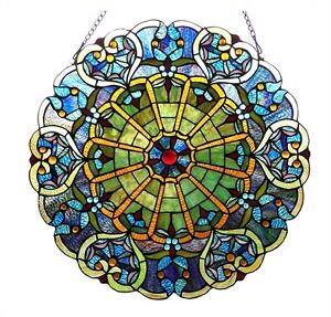 """Stained Glass Victorian Window Panel  23"""" Round Tiffany Style  ~ONE THIS PRICE~"""