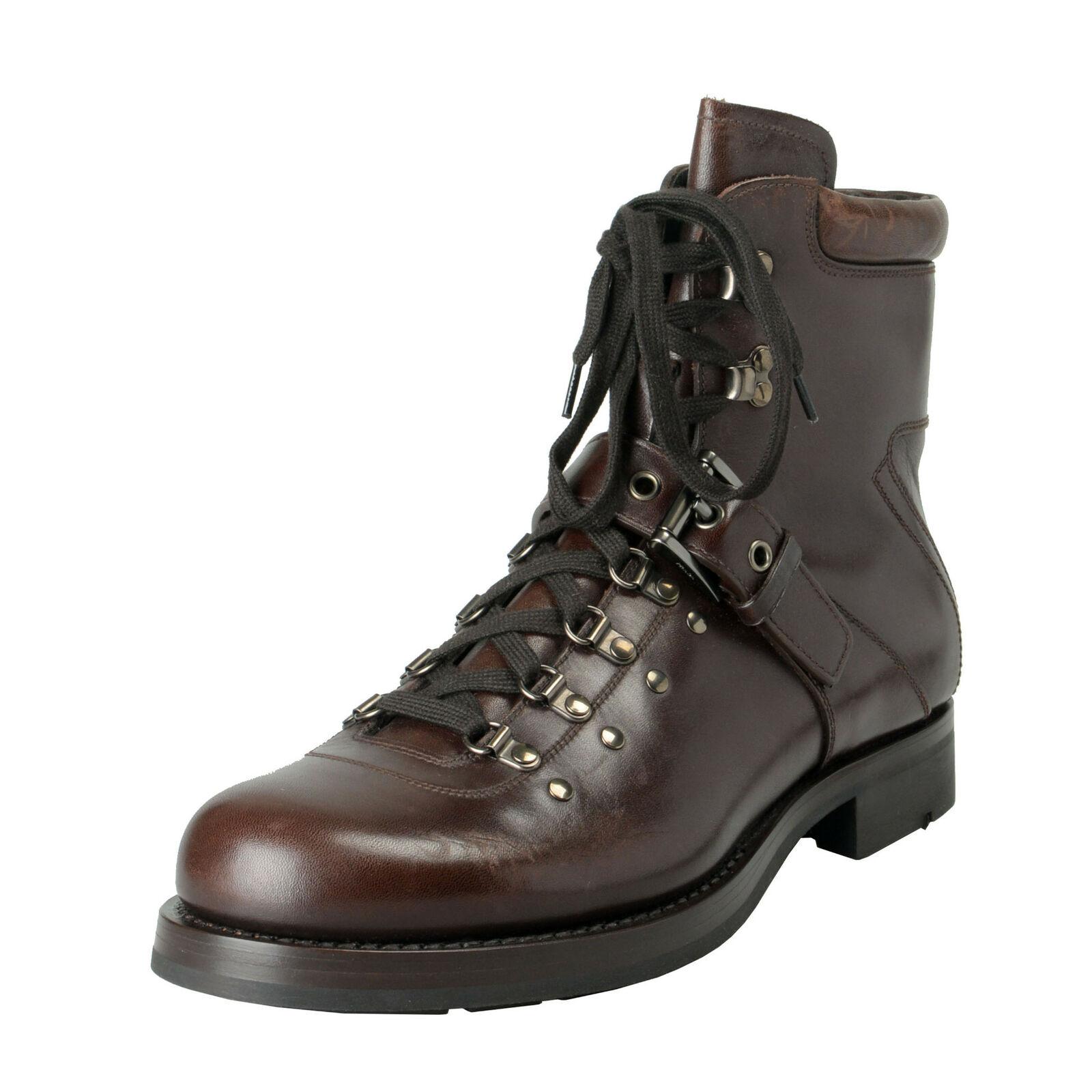 Prada Hombre Marrón Cuero Desgastado Motorcycle botas Zapatos