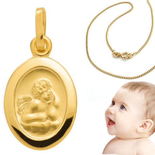 Baby Kinder Schutz Engel Gold 333 mit Namen Gravur und Kette Silber vergoldet