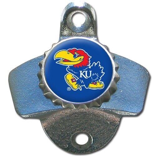 Kansas Jayhawks Wall Mount Metal Bottle Opener NCAA Pub Bar Kitchen College Team