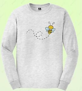 Cute Bee Long Sleeve T Shirt Indie Kawaii Sketch Tee Drawing Bug