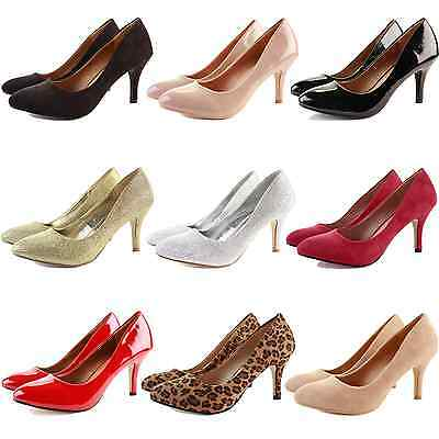 WOMENS LADIES LOW MID HIGH KITTEN HEEL WORK CASUAL SMART PUMPS COURT SHOES SIZE
